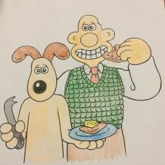 Wallace and Gromit eating cheese and crackers!