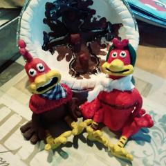 Chicken run Rocky and Ginger clay sculptures