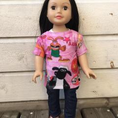 Miss Sophia wear aardman deisgn shirt